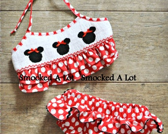 Smocked Girls Minnie Mouse Swimsuit- Red Polka Dot Bikini 2-piece Swim Birthday! Disney
