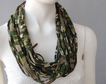 Camouflage Cotton Jersey Scarf, layered scarf, infinity scarf