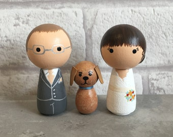 Bride, Groom & Pet Cake Toppers - Personalised Wedding Cake Toppers - Kokeshi Cake Toppers - Peg Doll Cake Toppers - Family Cake Toppers