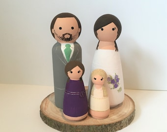 Family Cake Toppers - Bride, Groom & 2 Childen Cake Toppers - Personalised Wedding Cake Toppers - Peg Doll Cake Toppers