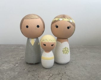 Bride, Groom & Flower Girl Wedding Cake Toppers - Personalised Cake Toppers - Kokeshi Cake Toppers - Peg Doll Cake Toppers