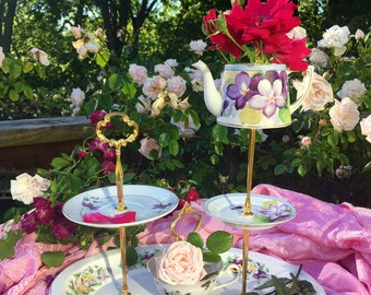 Mad Hatter Tea, Marie Antoinette Party, Lefton China, Noritake, Three Tier, High Tea, Vintage China Server, 3 tier cake stand, Teacup