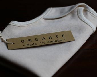 100% Organic Cotton Baby Onesie / Romper - Sizes 0-3m 3-6m 6-9m 9-12m