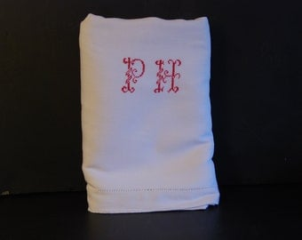 P H monogrammed pure linen sheet in original white colour. Very soft linen. Red cross stich PH. This can be a great curtain or drape.