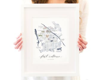 Fort Collins, Colorado Art Print - Watercolor City Map - Colorado State