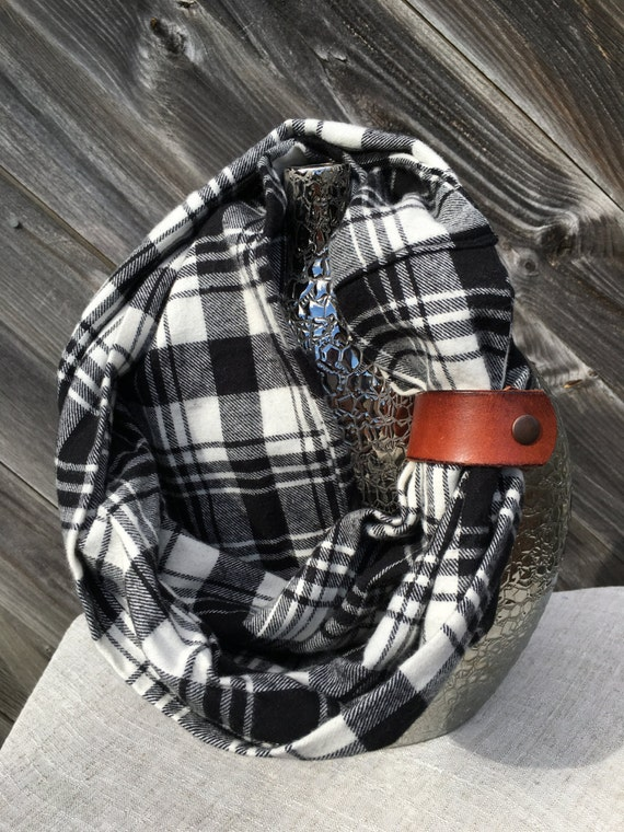 Black and white plaid flannel eternity scarf with a brown leather cuff - soft, trendy