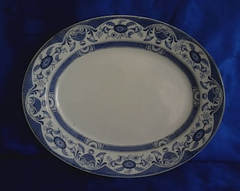 """Vintage Blue & White Charger Plate  """"Queen Ann"""""""