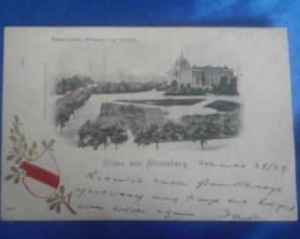 Vintage German 1899 Postcard, Greetings from Strassburg, Imperial Palace, Theater & Cathedral, Used