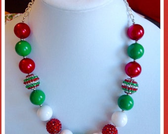Christmas Holiday Chunky Bubble Bead Necklace