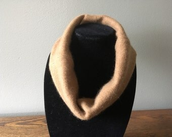 Upcycled cashmere cowl. Carmel, butterscotch felted cashmere neck warmer #2