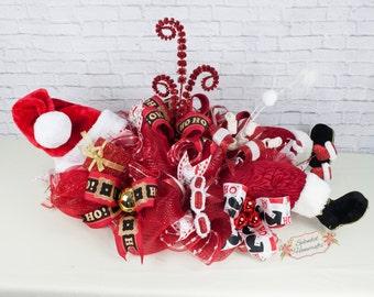 Santa Centerpiece, Christmas Centerpiece, Santa Legs Decor, Holiday Centerpiece, Deco Mesh Centerpiece, Santa Table Decor
