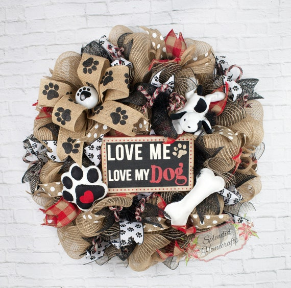 Crafts For Dog Lovers: Dog Wreath Dog Mesh Wreath Dog Lover Wreath Pet Wreath