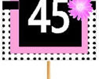 Happy 45th Birthday Pink w. Black Polka Dot Novelty Cupcake Decoration Topper Picks -12ct
