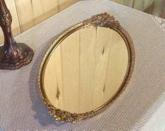 Vintage oval dresser tray, Gold filigree tray, Victorian vanity tray, dresser tray, mirrored dresser tray, Victorian mirror, oval mirror