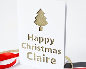 Personalised Christmas Tree Glitter Cut Out Card - Christmas Card - Personalised Card - Personalized Christmas Card - Glittery Card