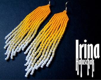 Long gradient yellow earrings, beaded earrings, seed beads earrings, boho earrings, dangle earrings, gradient from yellow to white earrings
