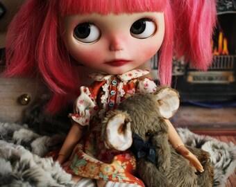 Dolly in orange.(Blythe, pullip or yosd). Outfit 2 pcs: dress & socks