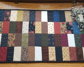Quilted Table Runner/ Primitive Table Runner/ Patchwork Table Runner/ Scrappy Table Runner/ Handmade
