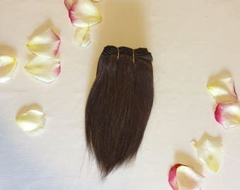 Chocolate brown straight mohair weft 100g, 190-200 inch, Blythe doll, Waldorf doll hair