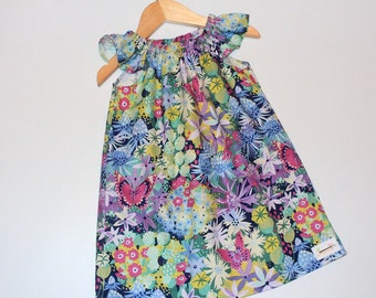 Seaside Dress Butterfly Size 7, girls clothing, butterfly, floral, handmade dress, 7 year old clothing, handmade clothing