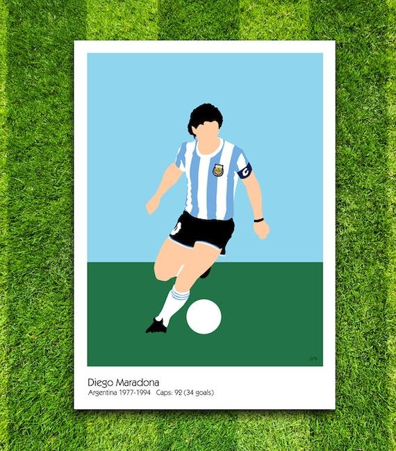 Diego Maradona // Argentina // Football // Soccer // Minimalist Poster // Unique A4 / A3 Art Print