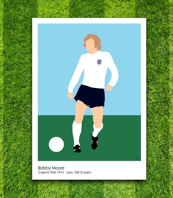 Bobby Moore // England // Football // Soccer // Minimalist Poster // Unique A4 / A3 Art Print