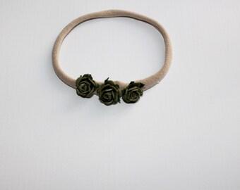 Olive Rose Bud Headband, Floral Crown, Nylon Headband