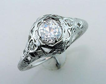Vintage Antique GIA Certified .80ct Diamond 18k White Gold Art Deco Engagement Ring