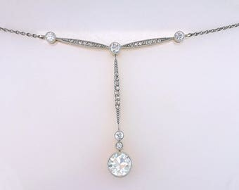 Vintage Antique 1.65ct Diamond Platinum & Yellow Gold Victorian Necklace