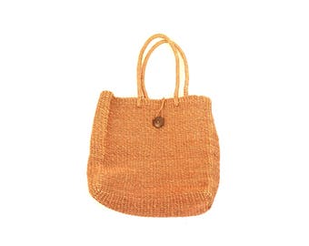 Vintage Brown Over-Sized Straw Beach Bag