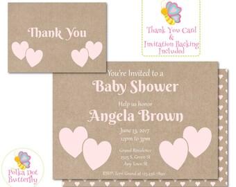 Pink Heart Baby Shower Invitation, Rustic Baby Shower Invitation, Rustic Shower Invitation, Baby Girl Shower, Baby Shower Invite