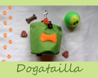Lime green dog treat bag with a colourful bone motif