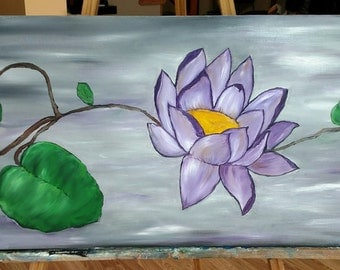 Lotus flower oil on wrapped canvas 12 x 36 purples and greys