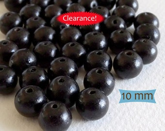 Simple Black Wood Beads--12 Pcs | 20-IW101-12