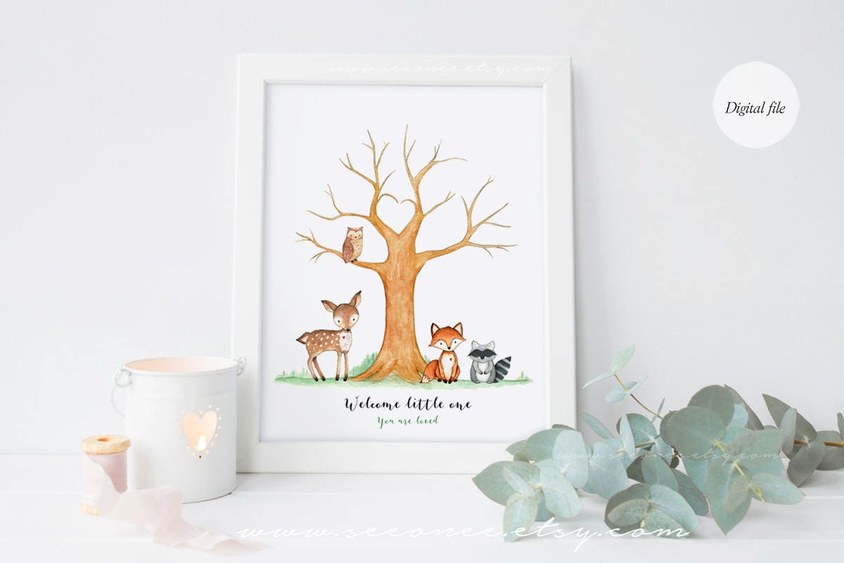 woodland animals baby shower fingerprint tree guestbook