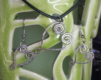 Silver Heart Pendant & Earring Set