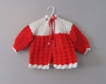 Vintage 1960's Crocheted Red Sweater / Baby Girl Size 12 Months Button Cardigan Sweater