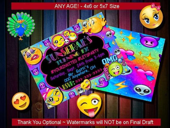 Emoji Invitation Smiley Birthday Themed Party Custom Diy Etsy Invite