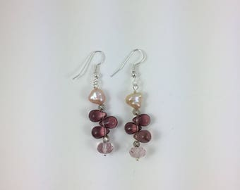 Fresh Water Pearl & Glass Bead Earrings by Pottery Lovely