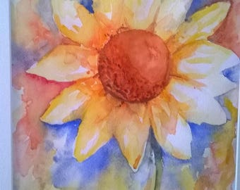 Original Sunflower Watercolor Painting  16x20 Matted