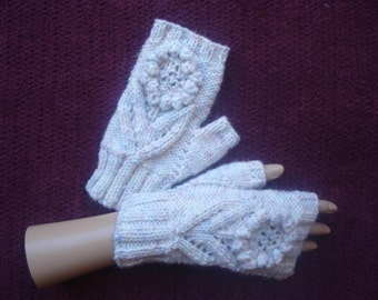 Hand Knitted and Crochet Fingerless Gloves in Cream Speckle Aran Yarn