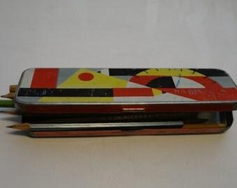 Pencils case vintage metal colored pencil case 1960s Retro Soviet School Accessory School Supplies collectible