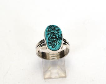 Sterling Silver Sleeping Beauty Turquoise Rough Face Ring