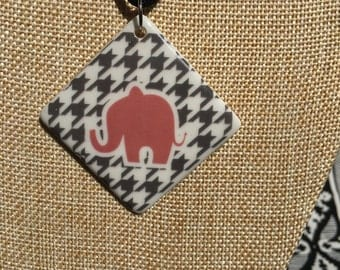 Alabama Pendant, Bama Necklace, Roll Tide Necklace, houndstooth jewelry, Elephant Pendant, Bama Jewelry ***Free Shipping***