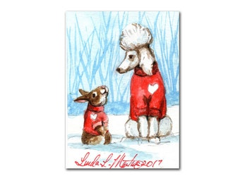 White Poodle  Bunny in Sweaters for Valentines Day llmartin Original ACEO  Watercolor 4