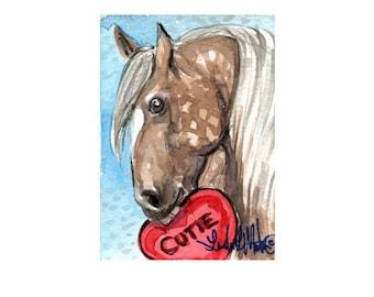Taffy Dapple Pony Valentine's Day llmartin Original ACEO  Watercolor Heart Free Shipping USA