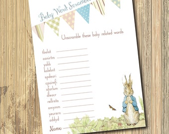 "Vintage Peter Rabbit Baby Shower Game...""Baby Word Scramble""/INSTANT DOWNLOAD/Digital file/printable/matches invitation"