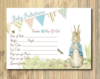 INSTANT DOWNLOAD Baby Predictions Card /Peter Rabbit, printable, digital, Beatrix Potter, rabbit, baby shower, boy, girl, game, bunny,