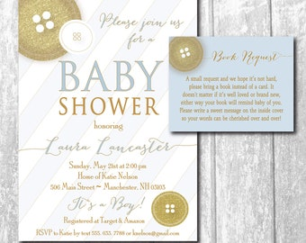 Cute as a Button Baby Shower Invitation printable/boy, matching book request, gold, blue,girl/Digital File/wording and colors can be changed
