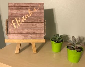 Thanks Greeting Card on Rustic Wood Paper